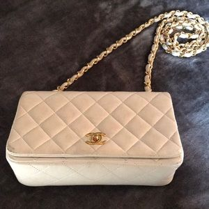 Chanel Chain White Lambskin Leather Shoulder Bag